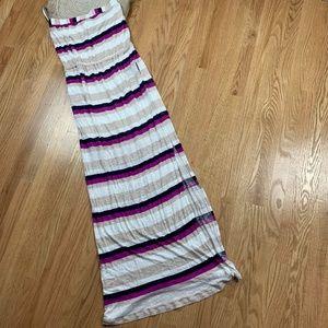 Splendid Striped Strapless Maxi Dress Pockets 8